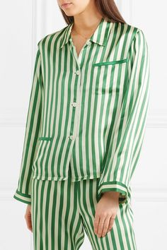 a2af7d1bcda9b Morgan Lane - Ruthie Striped Silk-charmeuse Pajama Top - Emerald Morgan Lane