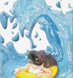 """be swept – RUN – artist ATEM """"We can only learn what love is through loving others."""" elephant, wave, tube, oil, glacier, yellow, blue, water"""