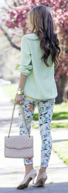 Mint And Floral Streetstyle by Chic Street Style Colourful Outfits, Cool Outfits, Casual Outfits, Fashion Outfits, Womens Fashion, 2015 Fashion Trends, Elegantes Outfit, Street Style, Spring Summer Fashion
