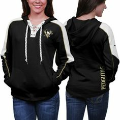 Reebok Pittsburgh Penguins Ladies Lace-Up Pullover Hoodie - Black 950c06e0e