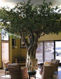 Monkey House Cafe-Huntington Beach, CA. House Plants Decor, Plant Decor, Wall Design, House Design, Fake Trees, Fleur Design, Indoor Trees, Cafe House, Tree Wall Art