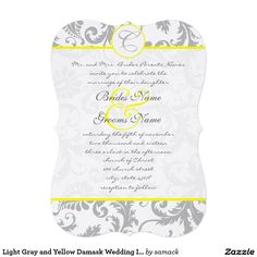 "Light Gray and Yellow Damask Wedding Invitation 5"" X 7"" Invitation Card"