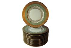 """Hutschenreuther Dinner Plates, S/12 on OneKingsLane.com   Set of 12 Bavarian dinner plates encrusted with 24-karat gold filigree borders on either side of a lovely green with gold band   11""""dia   975.00"""