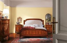 Double bed with leather headboard tufted Art. 105/2
