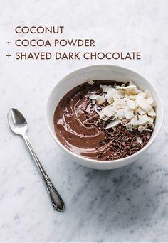 Coco + Cacau em Pó + Chocolate Preto Ralado+Iogurte Natural