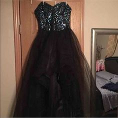 SALE❗️High Low Prom Dress Gorgeous High Low Dress!! Blue, Sea-Green, and silver sequins. This dress is stunning on!! Size 3/4. Paid $150 Dresses High Low