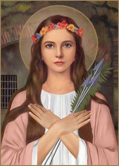"""Filomena era filha dos reis de um pequeno Estado da Grécia. Ela nasceu após seus pais converterem-se ao cristianismo, no dia 10 de janeiro. Foi uma bênção de Jesus, pois a rainha era estéril. No batismo, recebeu o nome de Filomena, que significa """"filha da luz da fé"""". Aos doze anos, fez os votos de virgindade e tornou-se esposa de Jesus. Santa Filomena."""