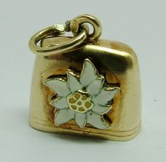 1950's 14k 14ct Gold & Enamel Edelweiss Cow Bell Charm with Heart Clanger