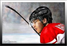 A portrait of Martin Kariya, during his time with Team Canada, that I was commissioned to paint.    One of my favorite hockey portraits to date.