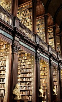 The Long Room in Trinity Library, Dublin, Ireland.