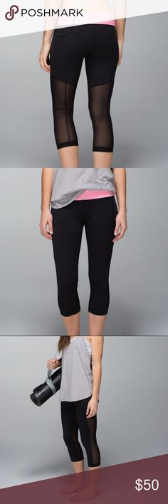 2b157a9dd Lululemon breathe easy mesh back crops leggings 6 Lululemon breathe easy  crops size EUC. Black leggings with pink waistband and mesh on lower back.