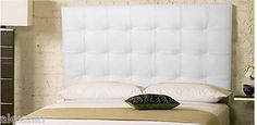 Wall Mounted Queen size Extra-Tall Headboard, Upholstered in White Leather