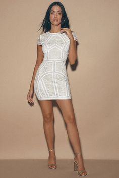 Sexy White Sequin Dress - Embroidered Dress - White Party Dress - Lulus White Sequin Dress, Cute White Dress, White Embroidered Dress, Red Bodycon Dress, Dresses For Less, White Dresses For Women, Little White Dresses, Sexy Dresses, Nice Dresses