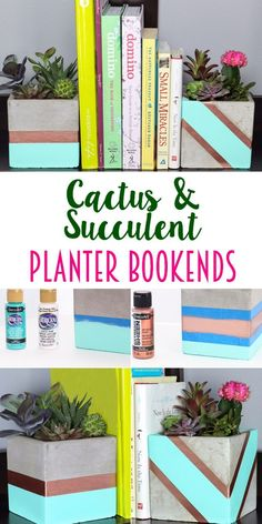 Cactus Succulent Planter Bookends