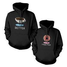 You can't go out together unnoticed with these cute hooded sweatshirts. Cute matching couple hoodies! Our funny couple sweater is best gifts for wedding, anniversary, Valentines Day, Christmas, and any other special occasions to express your love. Perfect anniversary or Christmas gifts ideas for couples Made of 80% cot