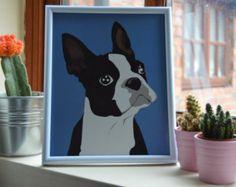 Boston Terrier Art Print Blue 8x10 - Modern Simple Digital Art Gift Dog Print
