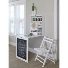 This stylish set easily folds out into a convenient workspace that is perfect for scrapbooking, crafting, sewing, homework and more. When not being used, table folds up into wall mounted section to lo