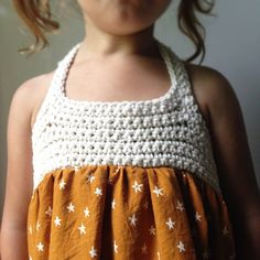 Lucky Stars Handmade Dress. Made of 100% cotton fabric and cotton yarn. Made in sizes 0-7