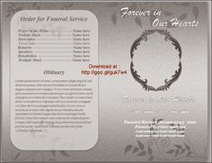 brochure template resume templates funeral program template free order of service template microsoft word ms funeral order of service programming - Free Editable Funeral Program Template