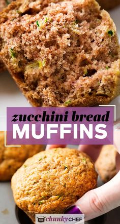 These zucchini bread muffins have all the flavor of sweet zucchini bread, in a snack-sized muffin!  One bowl, no mixer, and everyday ingredients... these muffins are perfect for breakfast, a snack, or getting kids to eat extra veggies! Muffin Recipes, Brunch Recipes, Baking Recipes, Sweet Recipes, Breakfast Recipes, Breakfast Cookies, Bread Recipes, Vegan Recipes, Easy Gluten Free Desserts
