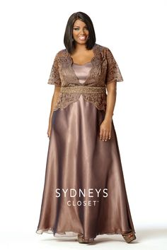 Check out this Intoxicating #motherofthebride plus size dress. This beautiful fawn gown is made of cross-dyed chiffon and laser-cut organza. It adds a unique and sophisticated feel to any event.   http://www.sydneyscloset.com/sydneys-closet/4029/