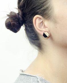 Handmade Hexagon Earrings, Small size: Diameter 1.5 cm. Materials: Wood, Black Plexiglass and Brass ( Studs ) #geometric #minimal #complementary #design #wood #plexiglass #jewelry #essential #deco #style #hexagon #earrings
