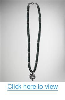 Hematite Clover Tube Disk Necklace #Hematite #Clover #Tube #Disk #Necklace