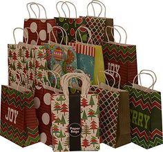 "Assorted Christmas Kraft paper gift bags, medium, set of 16 bags, 8"" x 10"" x 4"""