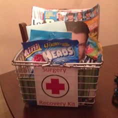 A handmade gift from my sister, Alli Vander Pol....let's hope all these goodies make the recovery quick and painless!!