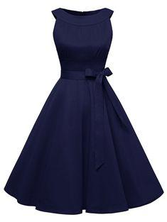 Vintage Belted Pin Up Swing Dress - DEEP BLUE M
