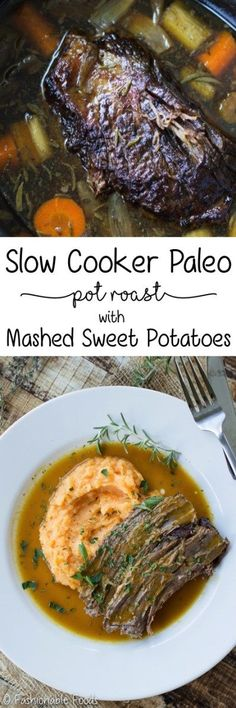 Nothing is more comforting than a slow-cooked, tender pot roast. This slow cooker Paleo pot roast is extra special because it's good for you, but doesn't sacrifice any flavor! Using bone broth as the cooking liquid gives the sauce unbelievable flavor!    {Gluten-Free, dairy-free,Paleo, and Whole30!}