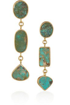 Halleh,, 18-karat gold Persian Turquoise Drop Earrings