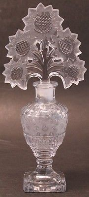 Imperial I w Rice Irice Vintage Glass Perfume Cologne Bottle Sunflower Stopper   eBay