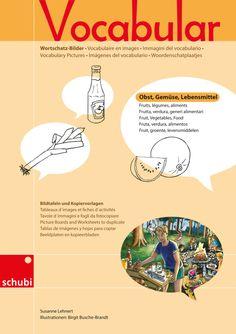 Vocabular Wortschatzbilder - Kopiervorlage - SCHUBI Map, Vocabulary, Foods, Index Cards, Food, Fruit And Veg, Templates, Pictures, Location Map