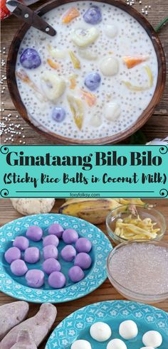 Bilo bilo (glutinous rice balls in coconut milk) Ginataan or Bilo Bilo is a hearty Filipino treat with thick sweet coconut milk and lots of banana, sweet potatoes, jackfruit and tapioca pearls, that can be eaten for breakfast, snack or even as a dessert. Philipinische Desserts, Asian Desserts, Dessert Drinks, Dessert Recipes, Breakfast Recipes, Breakfast Bake, Coconut Milk Desserts, Breakfast Ideas, Pinoy Dessert