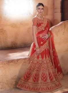 Red zari embroidered Indian Rajasthani bridal wear ghaghra choli