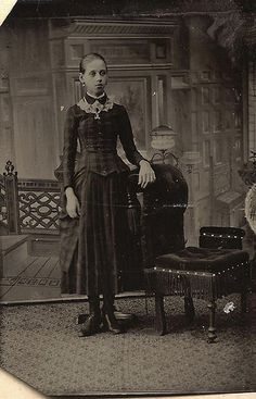 Teenage Victorian era girl. Not a Post mortem picture as previously labelled. Please remember that stands were there to support the subject and aid in keeping still. The stands were never capable for holding up a dead person!