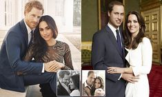 The difference between Harry and William's engagement photos