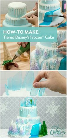 Frozen Party Ideas -How to make a three tier Frozen Party CakeYou can find Disney frozen cake and more on our website.Frozen Party Ideas -How to make a three tier Frozen Par. Frozen Party Cake, Disney Frozen Cake, Frozen Birthday Cake, Frozen Frozen, Frozen Cookies, Frozen Birthday Cupcakes, Olaf Birthday Cake, Disney Cupcakes, Disney Desserts