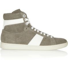 d21dd5ebeba Saint Laurent Leather-trimmed suede high-top sneakers Cinturones Hombre