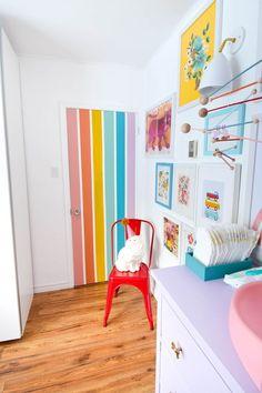 Room Ideas Bedroom, Bedroom Themes, Bedroom Decor, Nursery Ideas, Painted Bedroom Doors, Painted Doors, Painted Wall Murals, Rainbow Bedroom, Rainbow Nursery