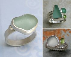 New obsession: sea glass sparkle ❀ Sea Glass Ring, Sea Glass Beach, Sea Glass Jewelry, Glass Rocks, Sea Glass Colors, Hawaiian Jewelry, Sea Glass Crafts, Diy Rings, Beach Jewelry