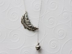 Silver Leaf Necklace  Silver Leaf And Acorn Charm by madebymoe, $35.00