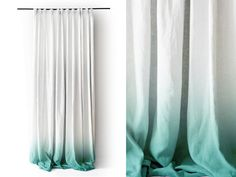 White Linen curtain panel Ombrè Mint fade to white. Pinch pleat Number 3 by Lovely Home Idea.