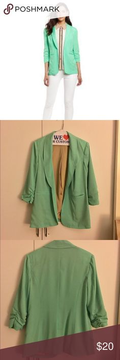🎉HUMP DAY SALE🎉Kensie Mint Green Blazer Pre-owned - great condition with no holes.  Has a few little stains, one on the back and two on the lapels. See pictures for stains. Rouched 3/4 sleeves in an awesome mint green color  Made of 100% polyester  Size Small Measurements: Underarm to underarm is approximately 19 inches Back of neck to hem is approximately 28 inches  🎉20% discount on all bundles🎉 ❌No trades❌ Kensie Jackets & Coats Blazers