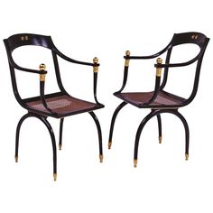 Emilio Terry Attributed, Two Black Lacquered Wood Armchairs, circa 1938 1