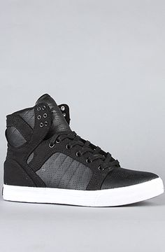 SUPRA The Skytop Sneaker in Black Perforated Action Leather Canvas : Karmaloop.com - Global Concrete Culture