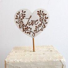 Golden Heart Cake Topper - Rustic Style Wedding