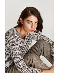 TOP DIN TWEED CU DETALII TIP PERLE Zara, Tweed, Turtle Neck, Blouse, Long Sleeve, Sleeves, Sweaters, Tops, Women