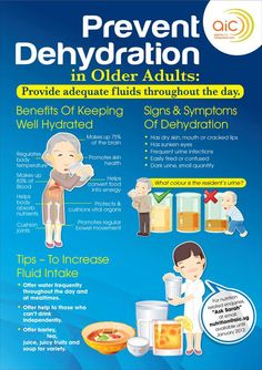 Prevent dehydration in older adults. Blood cells in older people lose there electrical charge over time. To regain more energy, drink alkaline water. Learn more about the rebirth of water here http://steveyg82.enagicweb.com